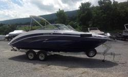 MINT! 2013 Yamaha SX240 High Output. ONLY 25hrs! Galv Trailer w/Tandem BrakesTwin 1.8L 1812cc Engines. 180HP each. Cruise Control. No Wake Mode. Depth Finder. Bimini Top. Shorelandr Custom Trailer with Brakes on both Axles. Swing Away Tongue. Snap-In