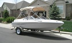 17 ft Four Winns runabout with outdrive 135 hp Volvo Penta 3.0. Engine is new - less than 2 hrs - reman Jasper longblock with TWO YEAR TRANSFERABLE WARRANTY. This boat is in great shape and has been professionally maintained. Always winterized and