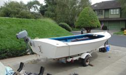 """22 FT Mast, main and jib in good shape (worth $800 alone), trailer and boat both licensed, 2 HP Mariner Motor, total boat length 15'8"""", boat cover. Also included 1full sheet 3/4 inch marine grade plywood (8 x 4 ft).*Needs fiberglass work underneath to"""
