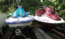 1996 Yamaha waveVenture 1100, 3 cyl., 1051cc, 110 Horsepower and a 1999 Sea-Doo GTX Limited, 2 cyl., 951cc, 130 Horsepower. Both units have covers and sit on a 2009 Yacht Club trailer. Have clear titles for all 3 units. Please call 724-816-8593 for