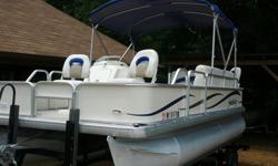 VESSEL WALK-THROUGH: If you have been searching for the perfect island hopping, beach going, grab the BBQ grill, cooler and just go type of boat, this is it! This is high quality Godfrey 2386 Sport pontoon boat is actually a tri-toon boat. The difference