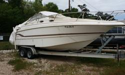 A great deal, 1998 Larson Cabrio 254 Cabin Cruiser, purchased new in 1999. Stand up shower with head, microwave, cook top, refrigerator, V berth and aft berth. 350 engine rebuilt a couple of years ago, no run hours never been back in the water. Needs the