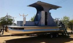 """..there are a couple of dents which is common to pontoons. Pontoon circumference is 73"""" and are 24' 2 inches from point to point. The owner has painted the PONTOONS with high-quality aluminum paint.The underside of the boat ( see pics ) reveals multiple"""