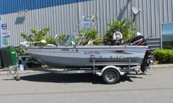 Mercury 115hp 4-stroke (223hrs), Mercury 9.9hp 4-stroke with remote(174hrs) Bow mount Minn Kota trolling motor, Lowrance LCX-28c GPS/Sonar, VHF Radio, radar arch with rocket launchers, Scotty electric downriggers, transom seating, swim step and ladder,