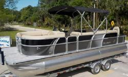 BISCAYNE BAY SERIES FAMILY PONTOON BOAT SHOWN IN TWO TONE ONYX / GRAPHITE ( BLACK / GRAY ). SHE IS POWERED BY A 4-STROKE 115 HP SUZUKI WITH LESS THAN 15 HOURS AND COMES WITH FULL FACTORY HULL AND MOTOR WARRANTIES. THE NORMAL PRICE ON THIS BEAUTY IS OVER