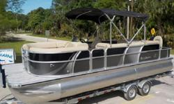 SALT WATER PACKAGE - Stainless staples on all upholstery, electrical wires protected, pontoons coated to assist in keeping pontoons from discoloration and zinc added to rear of pontoon.** ( Installed Option ) Suzuki pre-rig with monitor gauge.Features