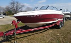 Monterey Edge 20E power boat with matching tandem trailorManufactured in 1999, but shows as 2000 model year in NADA bookred/white 20' Monterey Edge,Volvo Penta 5.0 GI SX single prop 250 hp engine with only 284 hours,Interior and exterior in excellent