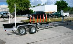 We manufacture Custom Aluminum Boat Trailers up to 45 feet with all stainless steel hardware,torsion axle suspension,float on bunkssubmersible led marker,directional and tail lights. Heavy Duty winchand stand, Kodiak SS or S. Cadmium Disc. brakes both