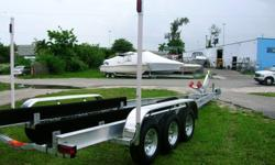 New Custom Aluminum Boat Trailers from 15' to 50' with all stainless steel hardware,Leds,Float-on Bunks,Guide-onPoles,HDuty Winch&Stand,stepon fenders,SS or S. Cadmiumdisc. brakes available all models. For Info