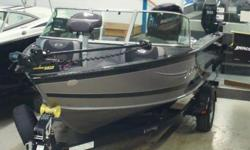 - Mercury 115 hp Fourstroke- Shoreland'r Trailer- It has less than 10 hours on it...save thousands!!!- Features/Options included:- Bunk trailer has brakes, spare and side guides- 4 Pro Ride/Air Ride Seats- 2 Jump seats- Lund Bike Seat- Humminbird 959 Ci