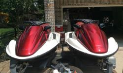Pair of 2005 Honda F-12X Turbo PWCs, solid condition, clean, well serviced, covered and garaged, fresh water boats. Hulls are good, with some scratches and surface dings on the edges. Unit 1 - 2005 F-12X Turbo with MacBoost Module. Clean hull, back bumper