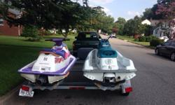 1995 Seadoo SPI Two Person Jetski1995 Kawasaki 750 ST Three Person JetskiDouble Trailer w/Equipment Box.2 Life Jackets (barely used)Both Skis and Trailer work very well! Both Jet Skis start right up, neither of them have any leaks or mechanical issues-