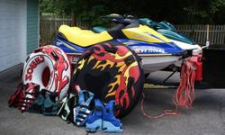 2006 Sea-Doo GTI SE and 1997 Sea-Doo GTX 3 passenger Jet Skis, double trailer with cargo box, four 5-gallon gas cans, jet ski covers, six life jackets and two tubes. 1997 GTX has a 781cc two stroke motor with approximately 225 hours on it, 2006 GTI has a