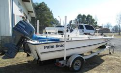Year: 2006 Use: Salt WaterMake: Palm beach Engine Type: Single OutboardModel: 185ccEngine Make: Yamaha EngineType: Center Console Engine Model: 115 4 strokeLength (feet): 19 Primary Fuel Type: GasBeam (feet): 7 Fuel Capacity: 31 - 40 GallonsHull Material: