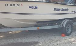 Like new 2002 18' Palm Beach boat and trailer, 90HP Johnson motor, Live bait well, Includes 5 life vests, 10' push pole anchor, steel anchor with rope, tie up ropes for docking, 110 qt. ice chest, New Power Pole shallow water anchor for 9' depth, one