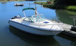 Pursuit Kodiak 2270 1998. Clean, high quality all-purpose fishing boat and day cruiser. New batteries. 200 hp Yamaha Saltwater Series outboard engine with low hours. 8 hp 4-stroke kicker barely used. All cushions new. Swim/dive ladder, folding stern