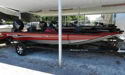 2014 Ranger RT-178c Aluminum Bass Boat with four stroke Mercury 60 HP and trailer. This boat is nicely equipped with a Lowrance X-4 fish finder back mounted at the helm, on board charger, Minn Kota Edge 45 lbs trolling motor, aluminum wheel upgrade, and