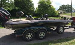 2 HDS 10's with structure scan and an HDS 5. 36 volt built in charger with 4 brand new batteries. Rod locker bar and Ranger trail trailer included. 170 hours. 1 quarter sized chunk out of the rear of the hull where the trailer meets the boat, Ranger