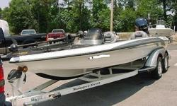 THE BOAT HAS A 74 lb. MINN KOTA TROLLING MOTOR. IT HAS A 3 BANK ONBOARD CHARGER. IT HAS A DIGITAL IN DASH FLASHER IN THE CONSOLE AND A FRONT GARMIN FISH FINDER. BOAT ALSO HAS DUAL FUEL TANKS AND A SWIM LADDER. THE MOTOR IS A YAMAHA 225 V-MAX. THIS MOTOR