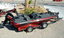 "With enthusiastic muscle, the 92"" beam crushes rough water and delivers a spacious interior layout. Oversized rod and gear storages dominate the elevated front deck and an insulated cooler centers the design. Speed, tach, fuel, trim, and water pressure"