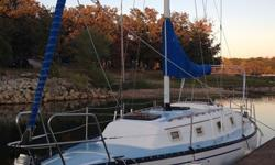 """1981 30' Hunter Sailboat5'7"""" KeelNew Diesel injection pumpRoller Furling Jib2 point reefing main sailBimini with sidesEdson wheel with compass - table attached to wheelPressure water - Shower in headbilge pump in bilgeLocated on Stockton LakeVery solid"""