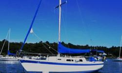 "1976 Cal 2-29, in the water at Paul's in Mere Point, Brunswick and ready for your sea trial. We are moving to a bigger boat and want to offer our beloved ""Moondance"" to a new family. She has three sails and a Perkins 18 HP diesel that runs well on very"