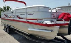 runs great. 32' long and 10' wide, upgraded seats with room for all your friends, double bimini tops cover most of the boat, in toon storage and double fuel tanks, extra captains chairs, over sized powder coated toons, Livorsi shifters and gauges, stereo