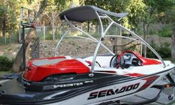 This Sea Doo speedster has only 7 hours on it and is like new!!!!! it is the supercharged model with 215hp and has tower and cockpit carpet and color Garmin fish finder cover trailer,stereo cd player ect.... it has been on trailer since new and must be