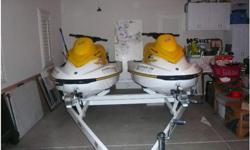 .These are two practically BRAND NEW 2005 Sea Doo GTI's with a brand new Zeiman trailer. The boats were bought brand new in Southern California and used for one summer at Lake Havasu, AZ. Very low hours, very well kept. Always garaged, all scheduled