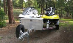 These two 2006 Sea Doo GTX and 2004 Sea Doo GTX Supercharged are in excellent condition. Very low hours, The GTX (White) has 104 hours; The GTX Supercharged (Yellow) has 120 hours. They do have some minor dings and scratches in the fiberglass (see