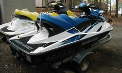 2 Seadoo Jetskis + Trailer ** Outstanding Condition **ALWAYS COVERED AND STORED OUT OF THE WATER. HAVE ONLY BEEN USED IN FRESHWATER LAKE.THE YELLOW/WHITE ONE IN THE PICTURE 2006 SEADOO GTI 4-TEC (4 STROKE) 130 HP 200 HOURS 3 SEATER DIMENSIONS: LENGTH=127