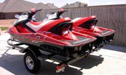 TWO (2) 2008 SEADOO RXT 215'S WITH TRAILER. THESE SEADOO'S ARE LIKE NEW WITH ONLY A FEW SCRATCHES ON THE BOTTOM FROM PULLING UP ON MY DOCK. ONE HAS 31 HOURS AND THE OTHER ONE HAS 36 HOURS. THEY ARE UNDER AN EXTENDED WARRANTY I PURCHASED WHEN I BOUGHT THEM