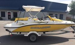2005 Sea Doo Sportster 150 155hp 4 Stroke 4-TEC Jet boat with trailer. This boat only has 10 hours. Barely used and is in great shape. All of the switches, gauges, and lights work. Engine starts and runs great. Gelcoat is still shiny and seats are in good