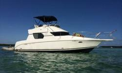 1997 Silverton 351 Sedan Cruiser Yacht- 38 feet, equipped with twin 454 Crusader XL's- fresh water cooled, low hours, just serviced, in perfect running condition. Westerbeke 5.0BCG Generator, new 16000 BTU AC unit keeps cabin ice cold, New Garmin GPS,