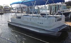 warranties include; 5-year bow to stern warranty, limited lifetime warranty on decking and pontoons, and a 3-year factory warranty on the engine. Features include: color coordinated bimini top w/removable vinyl, snap-on mooring cover, Cover, Carburetor,