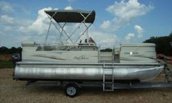 4 stroke outboard motor. The boat is in good shape and the motor runs very well. It has two removable fishing seats that are on the bow of the boat. Also included is a mooring cover and bimini top. Stop by the Marina or give us a call for more details.