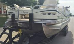 stereo with amp and two control stations to operate stereo with MP3 plug and usb plug plus 12 volt plug in.The helm has full gauge package plus tilt wheel..it is equipped with a hummingbird gps fish finder with speed odometer ,and water temp.the interior