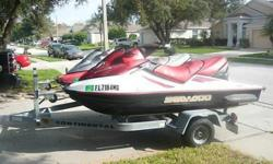 TWO 2003 BOMBARDIER GTX 4 TEC 3-SEATER SEADOOS, A TRAILOR, 6 LIFE JACKETS, A TWO SEATER TUBE AND ROPE TO PULL FOR LOTS OF FUN! BOTH SEADOOS SEAT 3 AND ARE ABLE TO PULL SKIER OR TUBER. BOTH ARE 2003 HAVE LOW HOURS (AROUND 100 HRS EACH) AND ARE IN GOOD