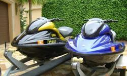 Up for sale is a nice pair of Yamaha GP1300's. Both skis run great, look great and are in good condition. The black and gold is a 2007 with 70 hours. The blue is a 2008 with 25 hours. The Shorelander trailer is a 2006 galvanized double place and is