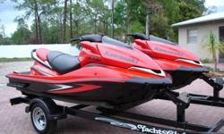 (2) 2007 KAWASAKI ULTRA250X JET SKIS 250HP SUPERCHARGED PORT SKI HAS ONLY 17HRS STARBOARD SKI 14HRS ADULT USED WAREHOUSE KEPT LIKE NEW CONDITION 2007 YACHT CLUB TRAILER INCLUDED.You are looking at (2) 2007 Kawasaki Ultra250x Jet skis with matching trailer