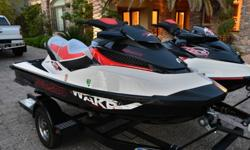 Two Sea Doo Wake 215s with 2008 Ziem Trailer .2011 Sea Doo Wake Pro 215 ? HOURS 35 - 215hp supercharged .2008 Sea Doo Wake 215 ? HOURS 91 - 215hp supercharged .2008 Ziem Trailer .Both watercrafts just received full service by local dealer. Also included