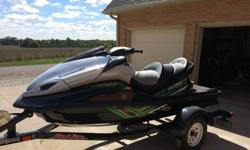 ONLY 18 HOURS. Motor was broken in correctly and never abused, always adult ridden. Balance of 5 year factory Warranty (bought in July of 2014). Comes with Haul-Rite Trailer and Kawasaki cover (that has never been used). Fresh water use only (Lake of the