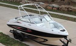 - Twin Yamaha MR1 High Output Engines -Yamaha Wake Tower-Only 167 Hours- Swim Ladder- Swim Platform - Dual-Axle Trailer - Full Snap In Carpet (NOT PICTURED) - Depth Finder and Deluxe Gauges - Bimini Top - Premium AM/FM/Cd Stereo With Transom Remote -