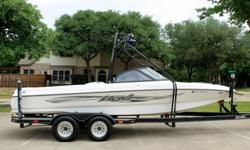 VERY LOW HOURS WITH 222 TOTALGARAGE KEPT IN EXCELLENT CONDITIONUPHOLSTERY IS LIKE NEW WITH NO BLEMISHESSKI WAKEBOARD TOWER350 MAG MPI 270 HP ENGINEV-DRIVE AND PROP IN GREAT CONDITIONENGINE RUNS LIKE A TOPFULLY SERVICED AND READY TO GOAMPLIFIERS AND