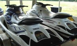 You are looking at a 2 Yamaha GPR1200 Wave-runners with dual Com-Fab trailer. The first is a 2000 Millennium Edition white and gray. The second is a 2001 white and blue. They currently have 125 hours on both (this may change as I am still currently using