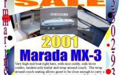 21' Marada MX-3 Weekender $13,999 SALE $13,599Clearance $11,999 5.0V8 Bimini Top Cockpit cover Sink Stove Water system Swim step W/folding ladder Trim gage Swing tongue, brakes, surge brakes, spare tire, alum step plates on a tandem axle tlr 21'